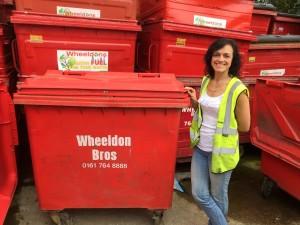 Susan Wheeldon and a 770 litre wheelie bin