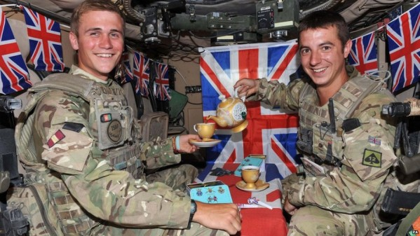 soldiers having tea in a tank