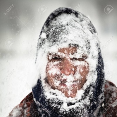 man in a snowstorm
